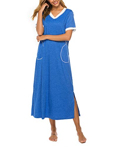 Bloggerlove Loungewear Long Nightgown Women's Ultra-Soft Nightshirt Full Length Sleepwear with Pocket Blue