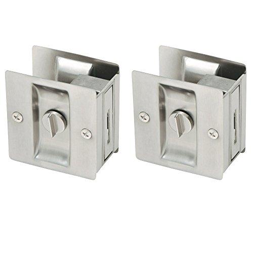 2 Pocket Door Lock Satin - Design House 182121 Pocket Door Bed and Bath Lock, 2-Pack, Satin Nickel