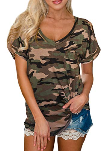 (For G and PL Womens V Neck Basic Cotton Top Loose Fit Short Sleeve Summer Casual Pocket T Shirt Camo S)
