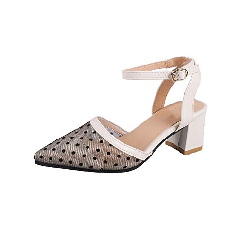 Spring New Hollow Coarse Sandals Shallow Work Shoes Female Sexy High Heels,Beige,6.5