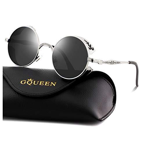 GQUEEN Retro Round Circle Steampunk Sunglasses Polarized Metal Alloy for Women Men -