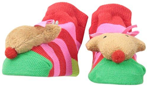 Mud Pie Girls' Baby-Reindeer Rattle Toe Sock, Pink, 12 Months