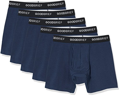 Good Brief Men's 5-Pack Cotton Stretch Classic Fit Boxer Briefs XX-Large Navy Basic Waistband