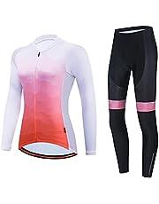 Fietsshirt Set Dames, Lange Mouw Set Cycle Tops Kleding Sport MTB Fiets Fietsshirts Met 3D Gel Padded