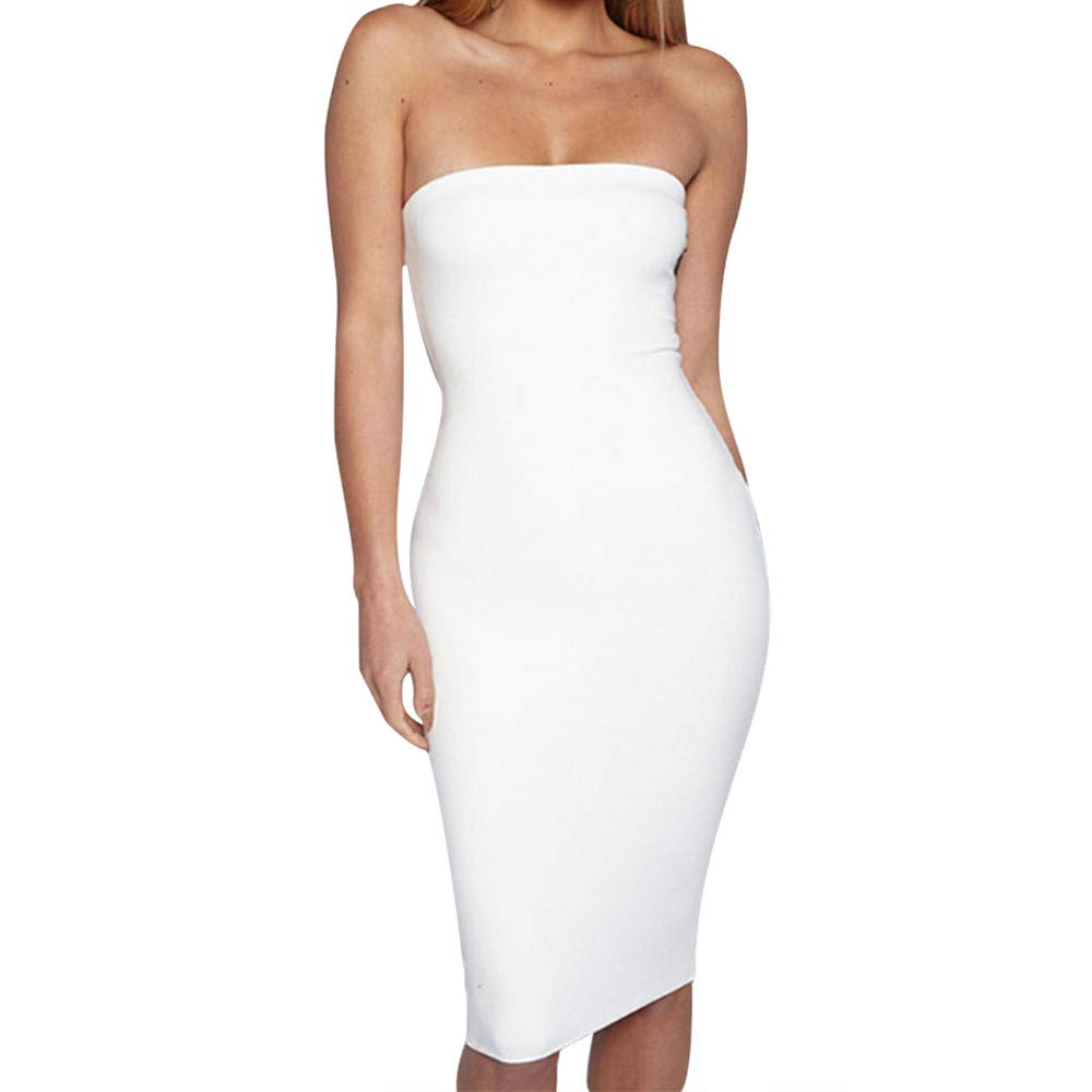 BB67 Women Sexy Bodycon Dress, Off The Shoudler Solid Summer Party Prom Dress White