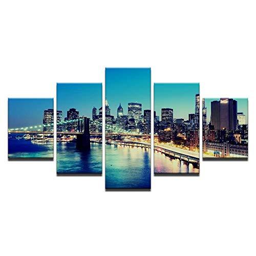 YYJHMK Hd Prints Home Decor Living Room Canvas Pictures 5 Piece Brooklyn Bridge City Night Landscape Painting Wall Art Poster Work 40X60 40X80 40X100Cm
