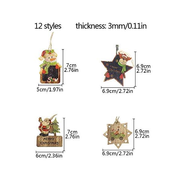 Set di decorazioni per alberi di Natale,12 pezzi in legno carino ornamenti per lavagna con pendente pendente con corde,3 pollici Modello di pupazzo di neve retrò di Babbo Natale per la decorazione 2 spesavip