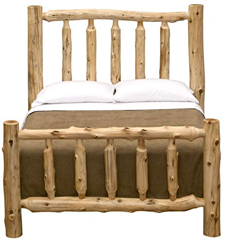Fireside Lodge Furniture 10070 Traditional Log Bed, Double, Natural Cedar