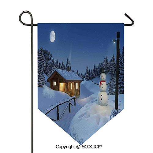 (SCOCICI Easy Clean Durable Charming 28x40in Garden Flag Wooden Rustic Log Cottage Scenery Winter Warm Moonlight Spirit Decor,Blue White Double Sided Printed,Flag Pole NOT Included)