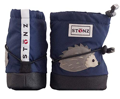 Stonz Three Season Stay-On Baby Booties, for Bare Feet or Shoes, for Mild or Cold Snow Weather, Hedgehog - Midnight Blue - S -