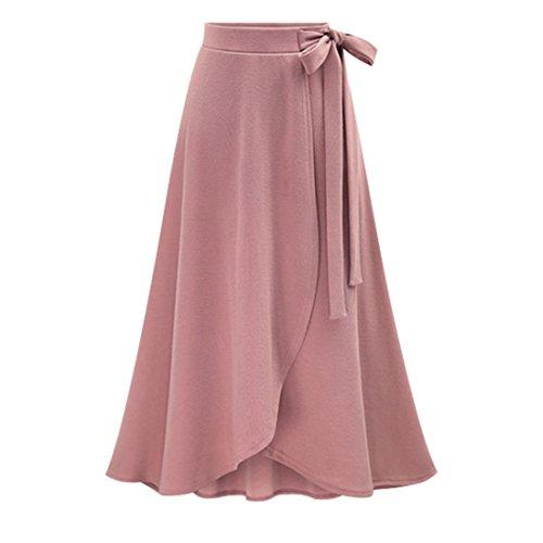 Women Elastic Pleated Maxi Skirts Front Slit High Low A-Line Skirt Hight Waist Long Skirts Pink XL Spring