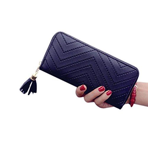 Kimloog Women Durable Clutch Tassel Card Holder Lady Leather Purse Long Life Span Wallet Handbag (black)