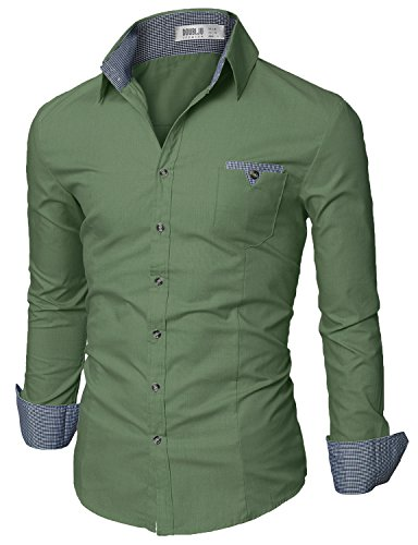 Doublju Mens Slim Fit Cotton Flannel Tailored Shirt, Green XX-Large