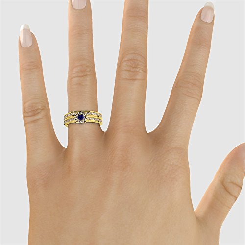 Or jaune 18carats 0,10ct G-H/VS sertie de diamants ronds Cut Saphir et mariée Bague de fiançailles et ensemble de Agdr-1339