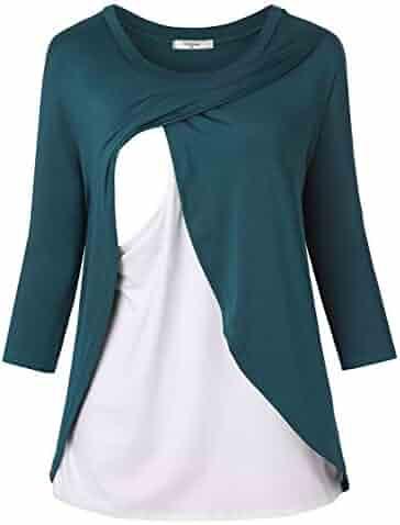 7d78345b4ab Women's 3/4 Sleeve Maternity Tunic Layered Nursing Tops for Breastfeeding