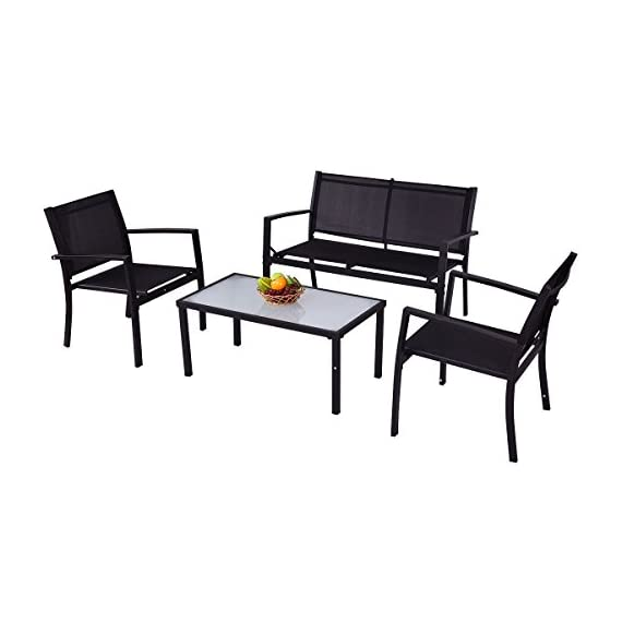 Giantex 4 PCS Outdoor Patio Furniture Set Sofa Loveseat Tee Table Garden Yard Pool Side - Durable Textile-- The chair surface material is textile. It is the best material for making outdoor furniture. It is aging resistant, waterproof and oil-proof. You can use it for a long time. Big Table Size-- The tea table is big enough for your daily use. It is available for holding any cups, fruits, snacks, newspaper, magazines etc. Reinforced Steel Frame-- The table and chair set uses reinforced steel bars as frame. It does not wobble or damage easily. It is a stable and solid enough for your daily use. You don't have to replace it annually. - patio-furniture, patio, conversation-sets - 41h9OzNyO0L. SS570  -