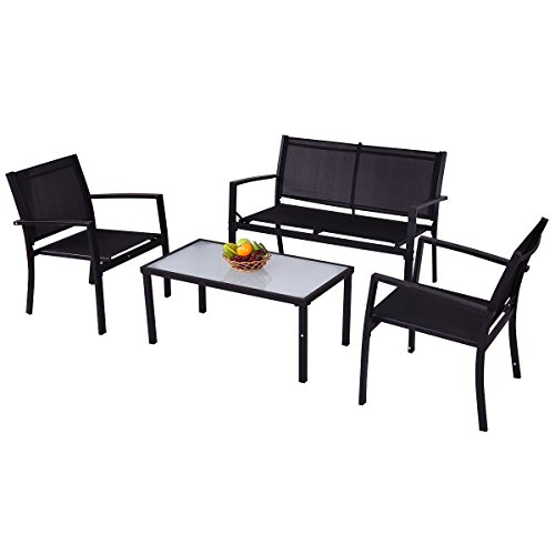 Giantex 4 PCS Outdoor Patio Furniture Set Sofa Loveseat Tee Table Garden Yard Pool Side by Giantex