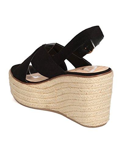 Sandali Espadrillas Donna Betani In Ecopelle Scamosciata - Elegante, Versatile, Casual, Abbigliamento Everday - Sandalo Con Zeppa Platform - Gb99 Nero