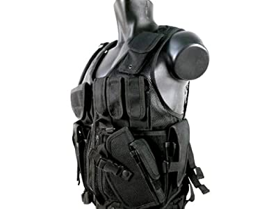MetalTac Airsoft Cross Draw Tactical Vest with 9 Pockets and Pistol Holster, Large
