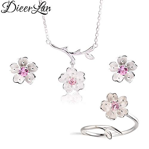 2019 Bridal Wedding Sterling Silver Jewelry Sets | Pink Crystal Cherry Blossoms Flower Necklaces, Earrings, Rings Sets | for Women