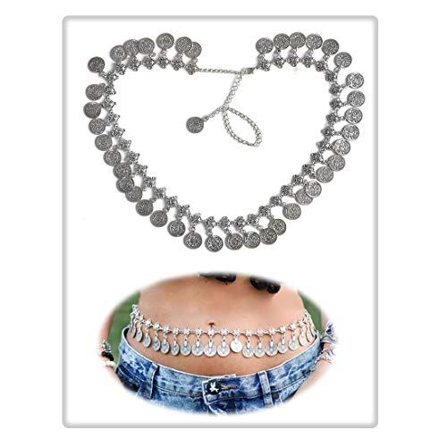 Geerier Silver Coin Waist Belly Chain Jewelry Bohemian Gypsy Dancing Tassel Waist Chain Belt