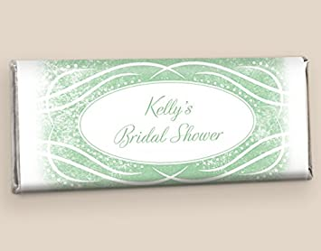24 fully assembled custom hersheys candy bar bridal shower favors in sage free cold packaging
