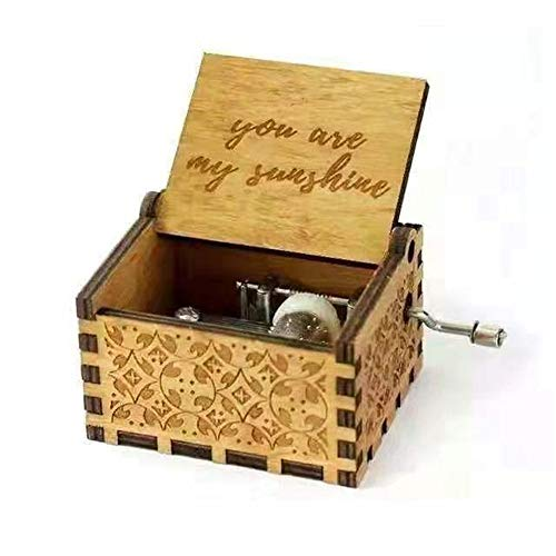 Biscount You are My Sunshine Movie Theme Antique Carved Music Box Hand Crank Wooden Musical Box -