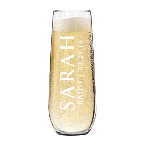 The Wedding Party Store Custom Etched Stemless Champagne Flutes - Personalized Monogrammed Bridesmaid Wedding Glasses - Engraved for Free -