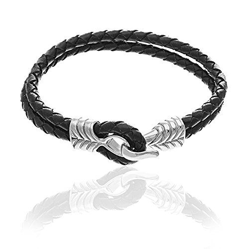 Creed Men's Silver-Tone Stainless Steel Double Strand Braided Black Leather Cord/Ribbed Hook Bracelet