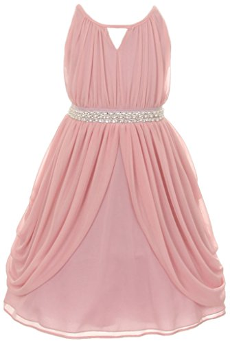 iGirlDress Little Girls' Elegant Grecian Chiffon Gown with Pearl & Crystal mauve size 6