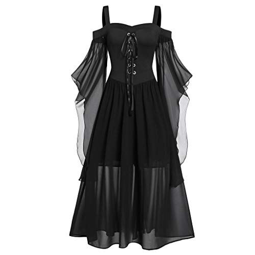 ✚Oldlover✚Gothic Dresses for Women Plus Size Off Shoulder Butterfly-Sleeve Lace Up Halloween Dress Bardot Dresses Black from Oldlover-Women