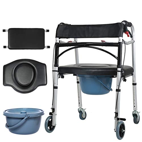 Lightweight Aluminum Walker 4 Wheel Folding Walker with seat Multifunctional Cane with Brake Compact armrest Lower Limb Training Toilet Bowl Adjustable Elderly Walker