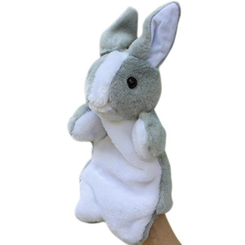 SUNONE11 Grey Bunny Hand Puppets Rabbit Baby Pretend Play Toys Easter Gifts Birthday Present for Children's Day
