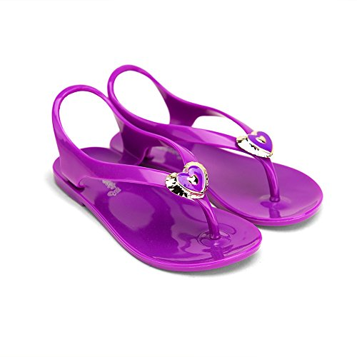 Chemistry Two hearts Girl Kid children Flat Ankle Strap T Strap Sandals Slip On Shoes Purple