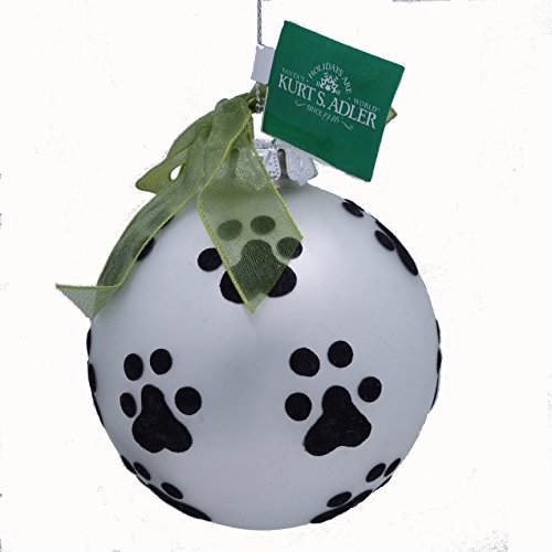 Paw Print Kurt Adler Silver Glass Ball Ornament - Gift Boxed - Recycled Glass Ornaments