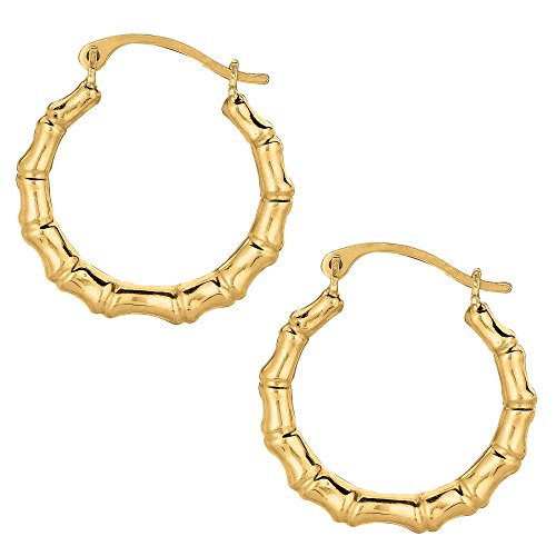 10k Yellow Gold Shiny Bamboo Round Hoop Earrings, Diameter (Bamboo Yellow Earrings)