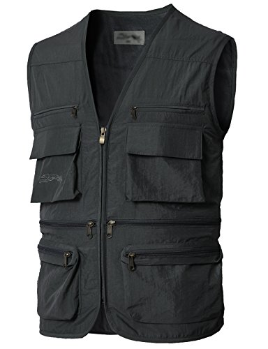 H2H Mens Casual Work Utility Hunting Travels Sports Summer Vest Charcoal US XL/Asia 2XL (KMOV0170)