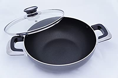 Home N Kitchenware Collection Aluminum Wok Pan with Glass Lid, Heavy Gauge, Two Handles, Stir Fry Pan w/Glass Lid