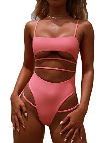(MOPOOGOSS Women Plus Size High Waist Swimsuit Sexy High Cut Spaghetti Cutout Strappy One Piece Bikini Tankini Pink S)
