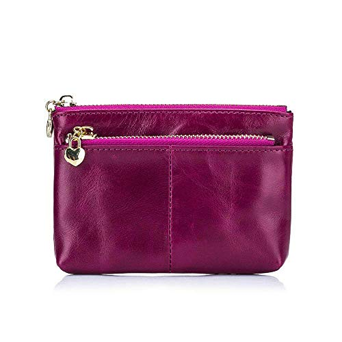 Fashion Women Lady Top Waxy Leather Wallet Bag Small Change Case Clutch Purse (Color - Purple)