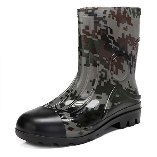 JOINFREE Mid Calf Rain Shoes Outdoor Rubber Shoes Durable Garden Shoes for Men Gray Camo 10 M US (Mens Garden Boots)