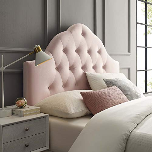Modway Sovereign Twin Diamond Tufted Performance Velvet Headboard, Pink (Pink Twin Tufted Headboard)