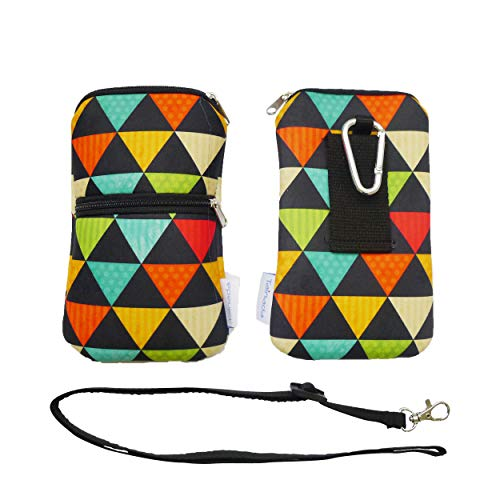 Tainada Men Women Neoprene Shockproof Dual Zippered Sleeve Phone Pouch with Carabiner, Neck Lanyard Strap, Holster for iPhone XR, Xs, Samsung S10, S10+, Google Pixel 3, 3a (Multi-Colored Triangles)