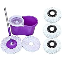 N S ENTERPRISES Cleaning 360° Spin Floor Cleaning Easy Advance Tech Bucket PVC Mop & Rotating Steel Pole Head with 3 Microfiber Refill Head (Color May Very)