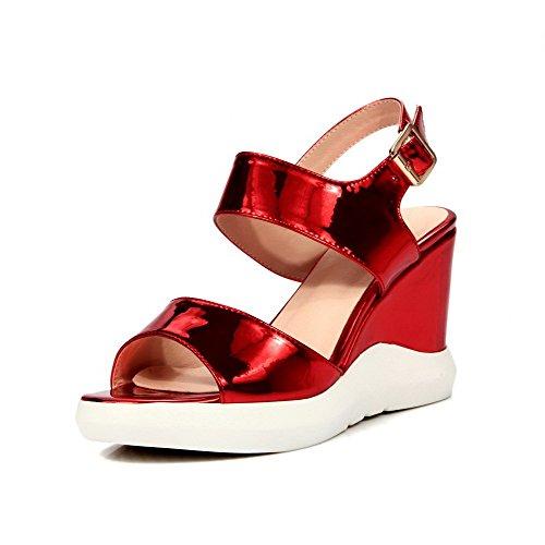 Heels Rot Solide Sandalen Open Damen Lackleder Toe High AllhqFashion Schnalle qTzpXw0