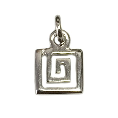 Sterling Silver Greek Spiral Key (Sterling Silver Greek Key Pendant)