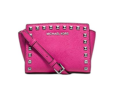 aa44a1b2fe14 Amazon.com  Michael Kors Selma Mini Stud Messenger Bag Raspberry Pink  Shoes
