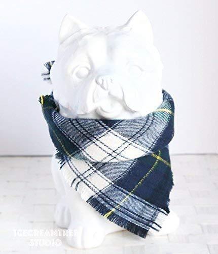 Navy Preppy Plaid Bandana - Tie on Classic Flannel Pet Bandana Scarf, Pet Fashion Scarf, Dog Bandana Scarf, Cat Bandana Scarf