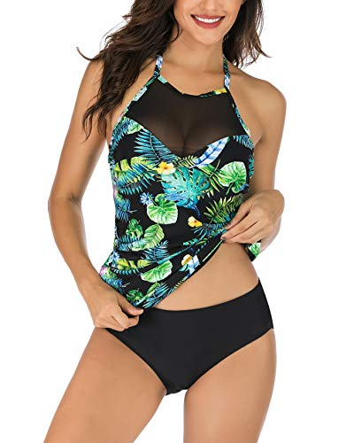 Floral Print Halter Tankini Top - Kistore Women Tankini Bathing Suits Sexy Boho Two Piece Ruched Halter Neck Sheer Mesh Tankini