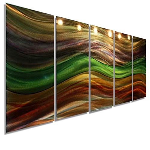 Extra Large Earthtone Green, Amber, Brown, and Gold Metal Wall Art - Panel Art Wall Painting Home Decor in - Huge Modern Contemporary, Abstract Wall Sculpture Art - Shifting Seasons Xl By Jon Allen